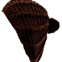 EH943RB - Hand Knitted Thick Slouch Fashion Beanie /Beret /Winter Hat - Chocolate/One Size