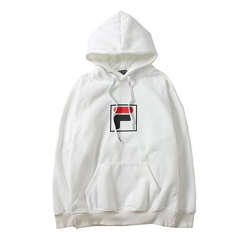 FILA autumn and winter tide brand men and women models hooded sweater White