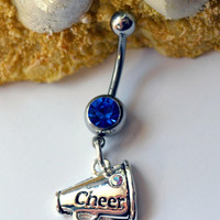 Cheerleader belly button ring - Cheerleader navel ring - Silver cheerleader belly button ring - Megaphone belly button ring
