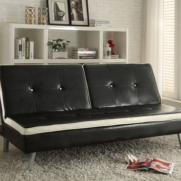 Acme 57184 Akraco collection tow tone white and black faux leather upholstered futon sofa bed
