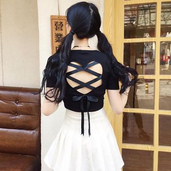 Summer Gothic Female T-Shirt Japanese Harajuku Street Fashion Women Sexy Crop Tees Top Sweet Heart Hollow Out Lace Cross T Shirt