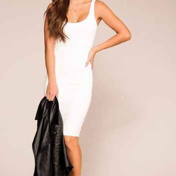 Cassandra White Midi Bodycon Dress