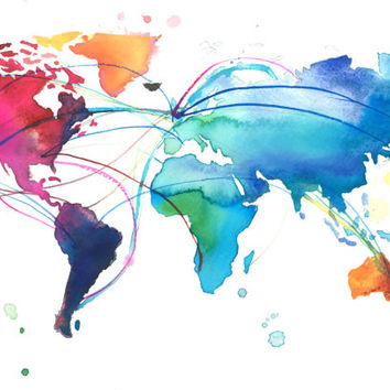 World Map for Dennis, print from original watercolor painting by Jessica Durrant