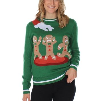Women's Ugly Christmas Sweater - the Gingerbread Nightmare Funny Sweater Green