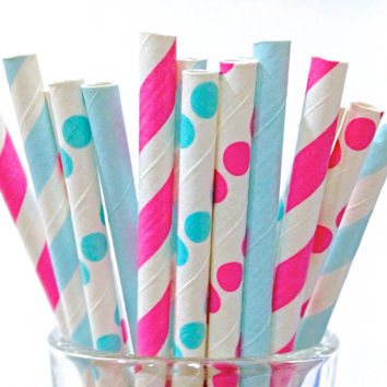 Hot Pink & Blue Striped Short Paper Straws, 50 Party Birthday Baby Shower Short FROZEN Cocktail Straw Cake Pop 5""