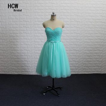 Mint Green Short Prom Dresses 2018 Sexy Sweetheart Lace Up Back Knee Length Pearls Tulle Arabic Prom Gowns Robe De Soiree