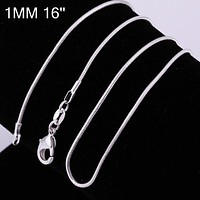 High Quality 16 inch Silver Plated Chains Necklace 1mm Snake Chain Necklace