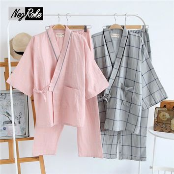Summer 100% cotton simple stripe kimono dressing gown for men pa 2545e32a0