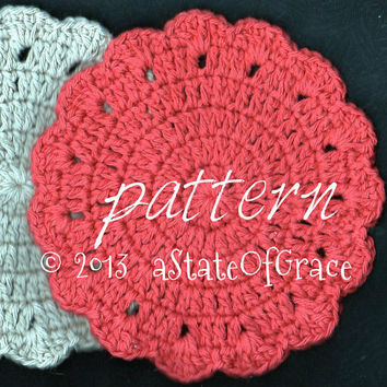 PATTERN - Round Dishcloth pattern number 3 - Washcloth - Coaster - Doily - Hotpad - Crochet Pattern - INSTANT DOWNLOAD