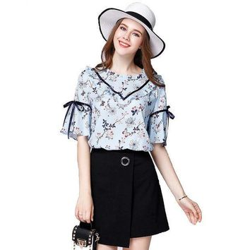 Hot Womens Summer Blouse Floral Print Shirts Plus Size Loose Chiffon Shirt Blusas Butterfly Sleeve Women Tops  Zb1412