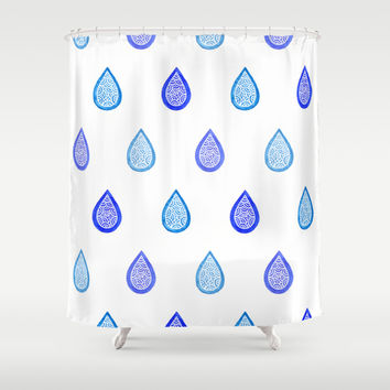 Blue raindrops Shower Curtain by Savousepate