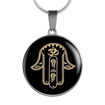 Protection Gold on Black Hamsa Hand Symbol Pendant Necklace