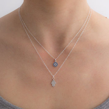 Evil Eye & Hamsa CZ Sterling Silver Necklace