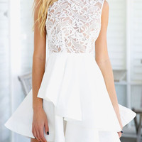 White Round Collar See-Through Club Dress