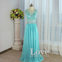Cheap Custom Made A line Floor Length Lace Prom Dress, Formal Dress, Lace Bridesmaid Dress, Evening Dresses