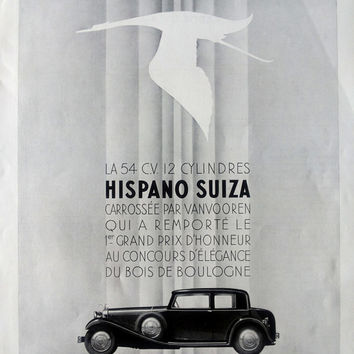 HISPANO SUIZA automobiles, vintage advertising poster, original car ad by A.G. Lebeuf, French magazine ad L'Illustration 1933, car poster A3