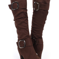 Brown Faux Suede Slouchy Buckle Heel Boots