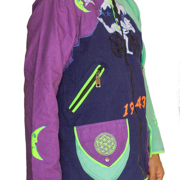 Albert Hofmann Bicycle Day UV jacket - blacklight active 4 pockets with hood and flower of life embroidery