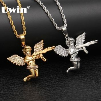 Uwin Angel With Gun Necklace Pendant Full Iced Cubic Zirconia Wings Silver Gold Color HIphop Punk Jewelry For Men And Women