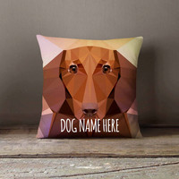 Personalized Geometric Dachshund Dog Pillowcase | Decorative Throw Pillow Cover | Cushion Case | Designer Pillow Case | Gift for Pets Lovers