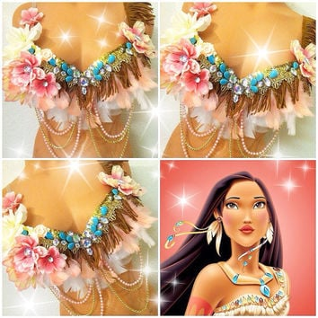 Pretty Pocahontas Rave Bra -MADE TO ORDER