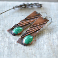 Long copper earrings - handmade artisan jewelry - copper sterling silver malachite earrings - brown green OOAK by Alery