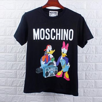 MOSCHINO Summer Women Men Donald Duck Couple Tape Recorder Cartoon Print T-Shirt Top Black