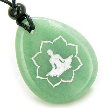 Lucky Kwan Yin Quan Lotus Amulet Green Quartz Wish Stone Pendant Necklace