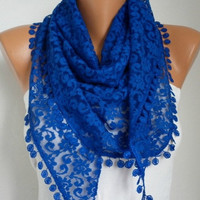 BIG SALE Cobalt Blue Lace Scarf -  Shawl Scarf Women Scarves Cowl Scarf Bridesmaid Gift - fatwoman