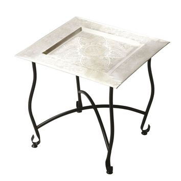 Bahia Traditional Square Moroccan Tray Table Multi-Color
