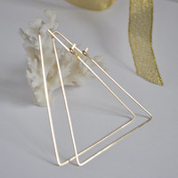 Gold Triangle Hoops - Geometric Hoop Earrings - 14k Gold Filled Ear Wires - Modern Jewelry - Triangle Hoop Earrings - Triangle Earrings