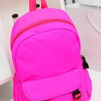 Fluorescence Color Backpack for Women Rose red EDC541