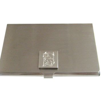 Silver Toned Etched Bison Head Business Card Holder