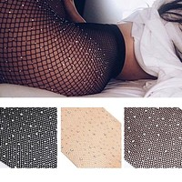 Women Fishnet Tights Net Crystal Diamond Bling Hosiery Body Stocking Pantyhose