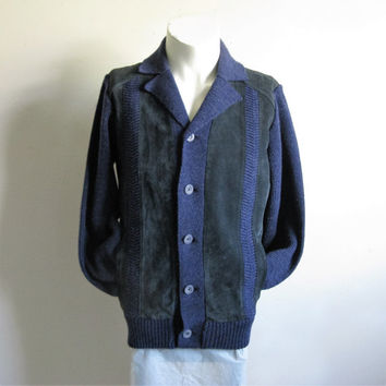 Vintage 70s Suede Mens Sweater Sears Navy Blue Suede Knit 1970s Mens Cardigan Medium
