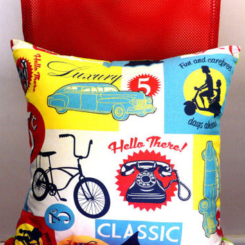 Vintage Retro Pillow Cushion Cover Bicycle Classic Car Hot Rod Kustom Old Skool Telephone Rockabilly Pop Art Men's Unisex Gift Car Lover
