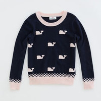 Girls Polka Dot Whale Crew Sweater