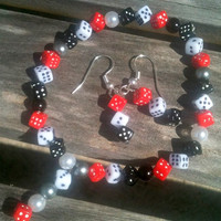 Bracelet and Earring Set RedBlackWhite Dice by By5Jewelry on Etsy