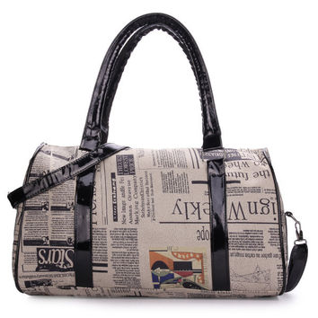 Women Retro Newspaper Printing Pattern Handbag Crossbody Bag
