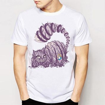 Track Ship + T-shirt Top Tee Big Purple Tooth Ghost Cheshire Cat Alice Alice's Adventure in Wonderland Forest men/boy t shirt