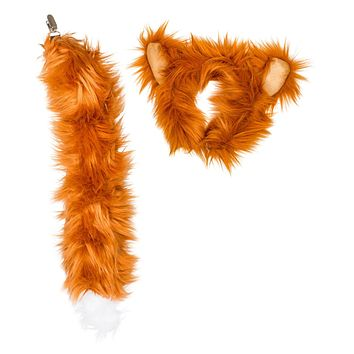 Plush Red Fox Ears Headband and Tail Set for Red Fox Costume, Cosplay, Pretend Animal Play or Forest Animal Costumes