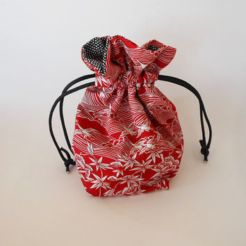 Drawstring Makeup Bag - Red & White Cranes - Japanese Fabric - Asian Fabric - Makeup Pouch - Cosmetic Bag - Adorable Little Jewelry Bag