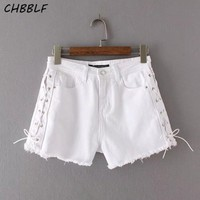 New Spring Summer European Bandage Decorative White Denim Shorts Lady Fashion Shorts Jeans Xdc1630