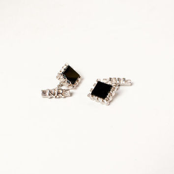 Vintage 60s CUFFLINKS / 1960s Black Onyx & Silver Large Flashy Cuff Links