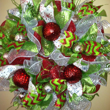 Christmas Wreath - Christmas Deco Mesh Wreath - Winter Mesh Wreath - Winter Holiday Mesh Wreath