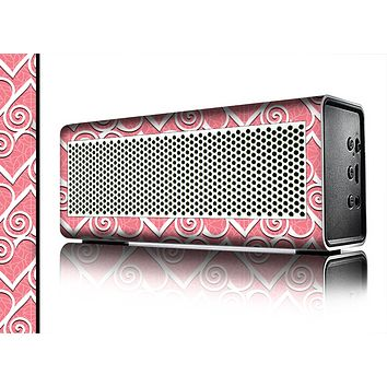 The Pink and White Swirly Heart Design Skin for the Braven 570 Wireless Bluetooth Speaker