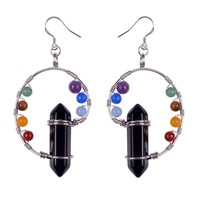 Multicolor 7 Chakra Beads Drop Earrings