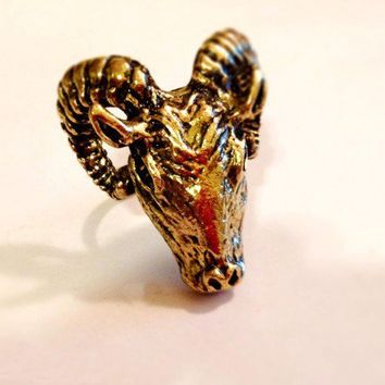 Aries God of War Rams Adjustable Ring | christinepurr - Jewelry on ArtFire