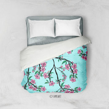 Duvet Cover, floral bedding, blue bedding, cherry blossom duvet cover, Bedding, Home Interior Decoration