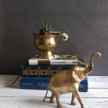 Vintage Brass Elephant with trunk up/ Brass Elephant/ Happy Brass Elephant/ Vintage Brass Decor/ Elephant Statue/ Vintage Brass Paperweight